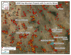 Southeast Arizona  Cu and Au mining districts