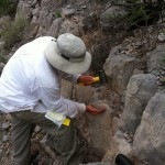 Collecting rock chip samples