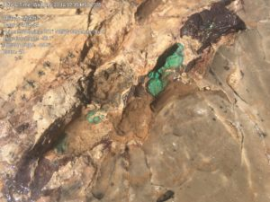 green copper oxide, Hay Mountain Project field studies, 09/2015