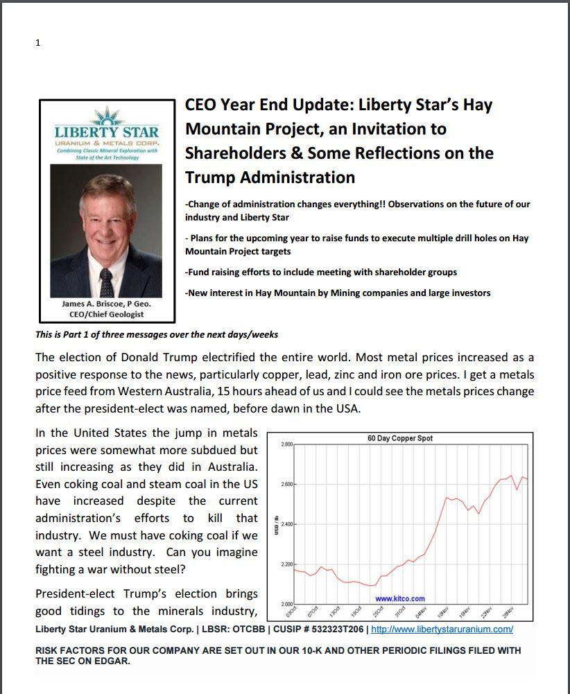 ceo year end update liberty star s hay mountain project an